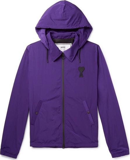 AMI Logo-Appliquéd Shell Hooded Coach Jacket
