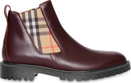 Burberry London England Vintage Check Detail Leather Chelsea Boots