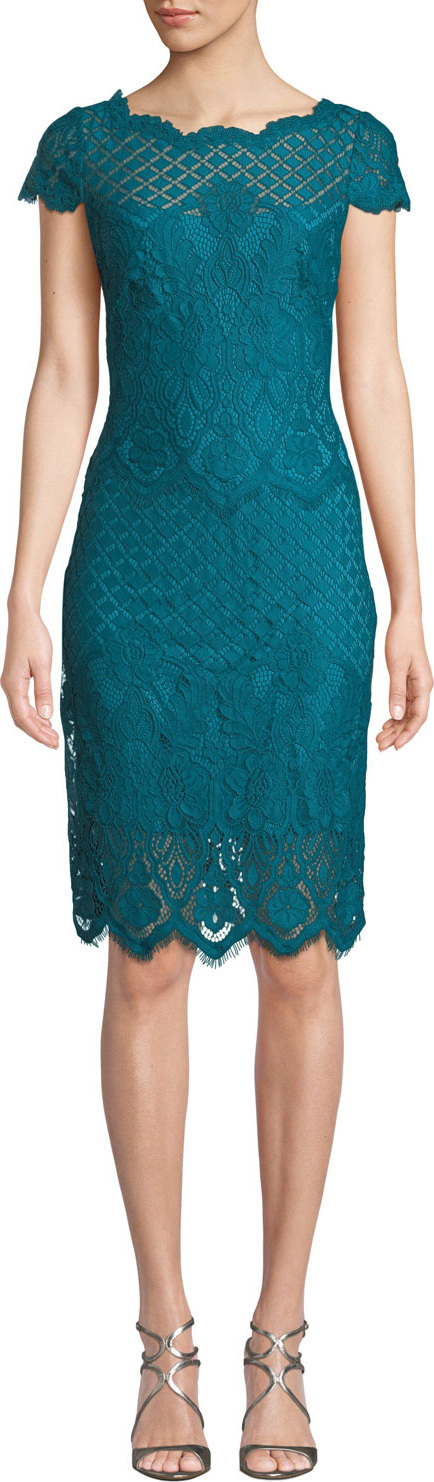 Tadashi Shoji Bazil Multipattern Cap-Sleeve Lace Sheath Dress