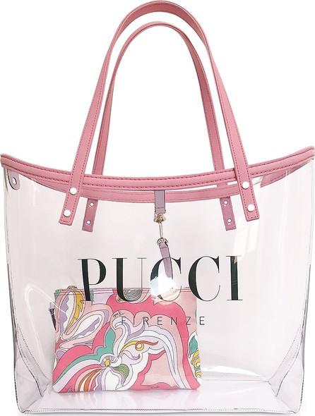 Emilio Pucci Transparent Signature Tote Bag w/pouch