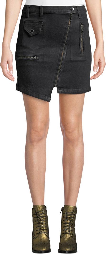 Hudson High-Rise Asymmetric-Zip Moto Skirt