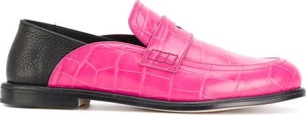 two-tone croc effect loafers