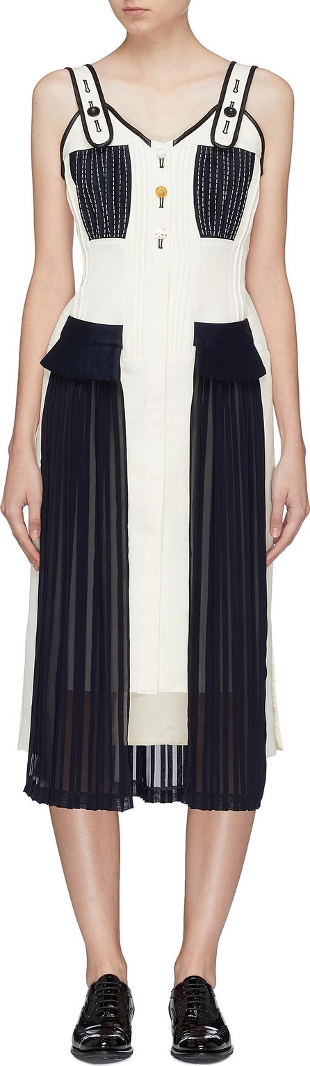 Akiko Aoki Colourblock pleated panel sleeveless dress