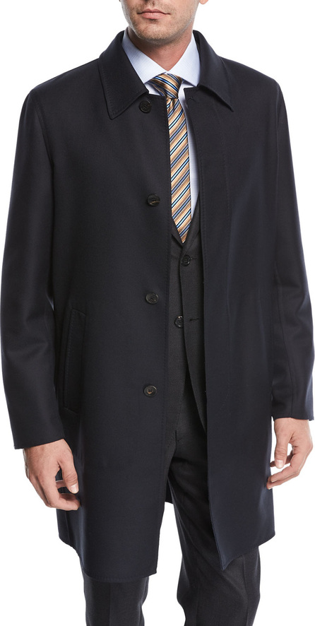 Brioni Single-Breasted Wool Button-Front Car Coat