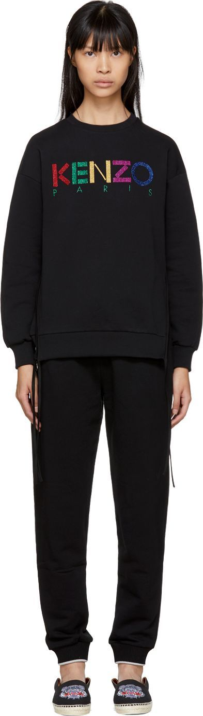 KENZO Black Limited Edition Holiday Logo Side Zip Sweatshirt