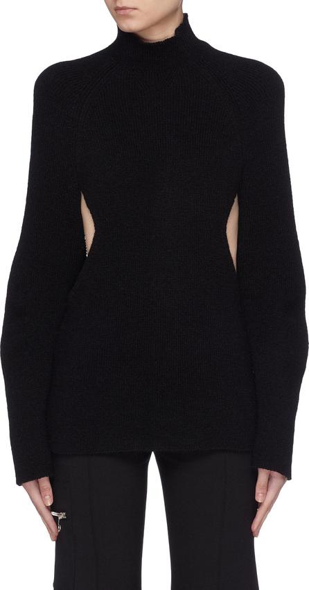 Chloe Puff sleeve cutout waist mock neck sweater
