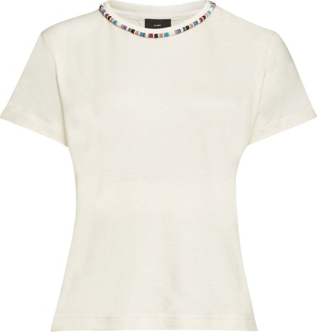 Alanui Cashmere and Cotton T-Shirt with Beads