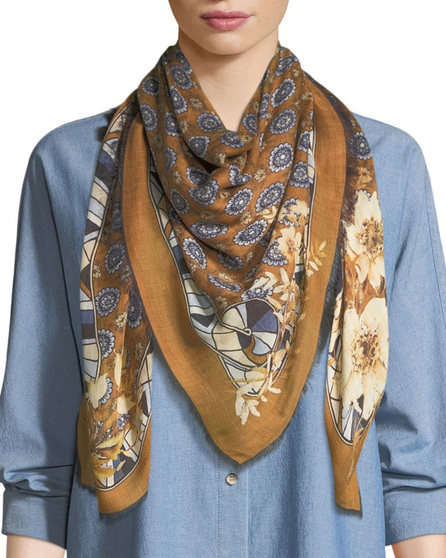 Lafayette 148 New York Gallant Blooms Square Scarf