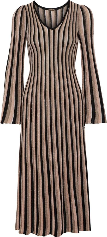 Adam Lippes Pleated metallic striped knitted midi dress