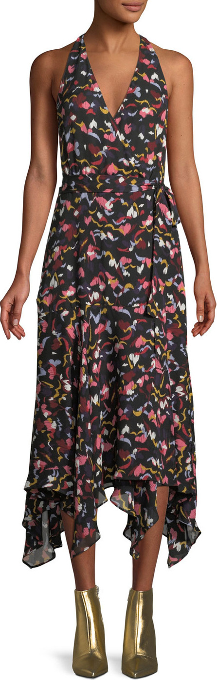 A.L.C. Roslyn Hearts Silk Sleeveless Midi Dress