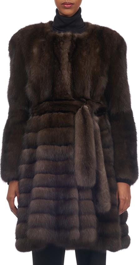 Gorski Belted Vertical Sable Fur Stroller Coat with Horizontal Flare Skirt
