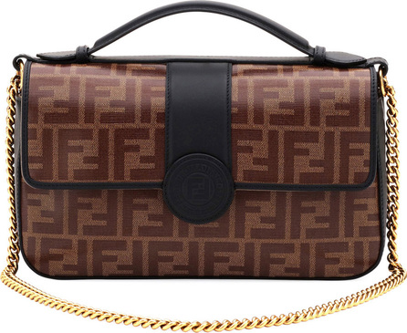 Fendi Double-Sided FF Canvas & Leather Shoulder Bag
