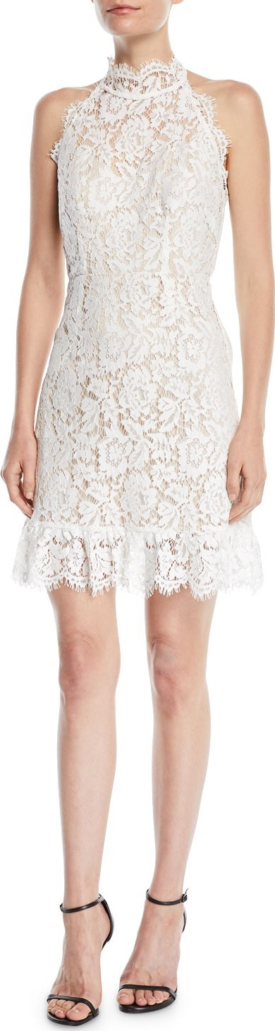 Aijek Halter Mini Dress in Lace