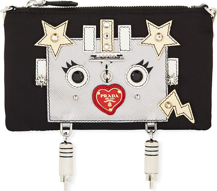 Prada Tessuto Robot Small Nylon Pouch Clutch Bag
