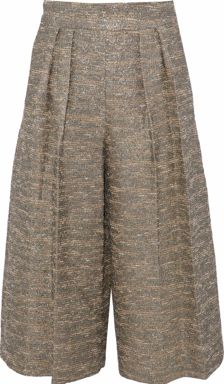 Alice + Olivia by Stacey Bendet Metallic cotton-blend bouclé-tweed culottes