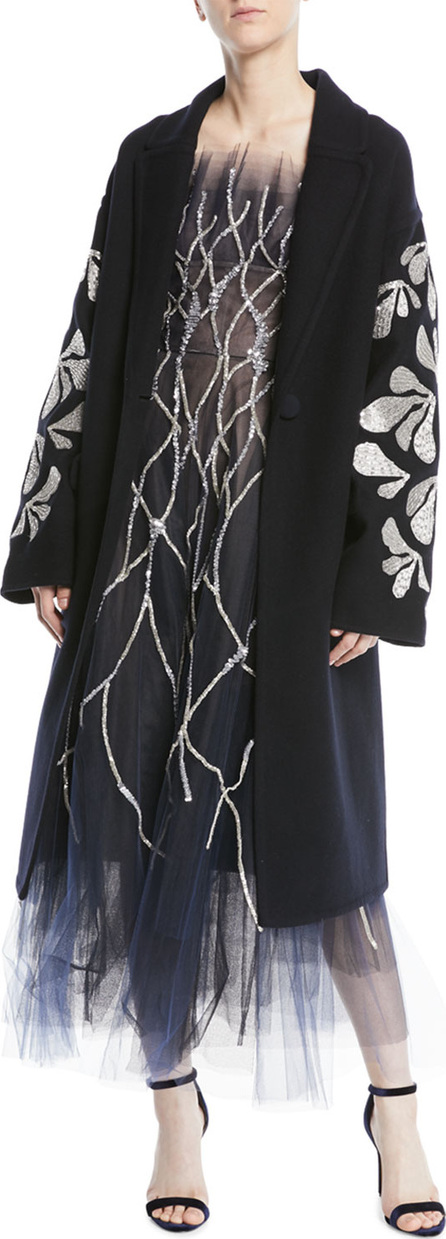 Oscar De La Renta Thread-Work Sequin Embroidered Double-Breasted Wool Coat
