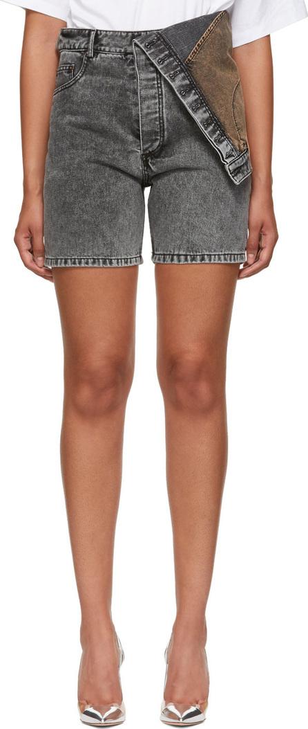 Y/Project Black Denim Asymmetric Shorts