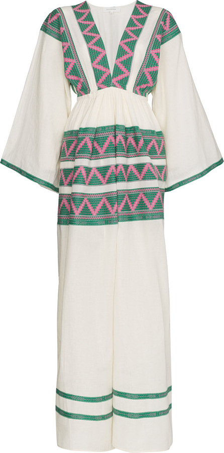 Celia Dragouni V-neck zig zag embroidered kaftan dress