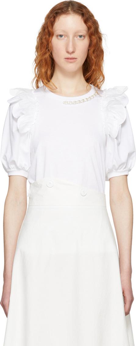 Simone Rocha White Beaded Puff Sleeve T-Shirt