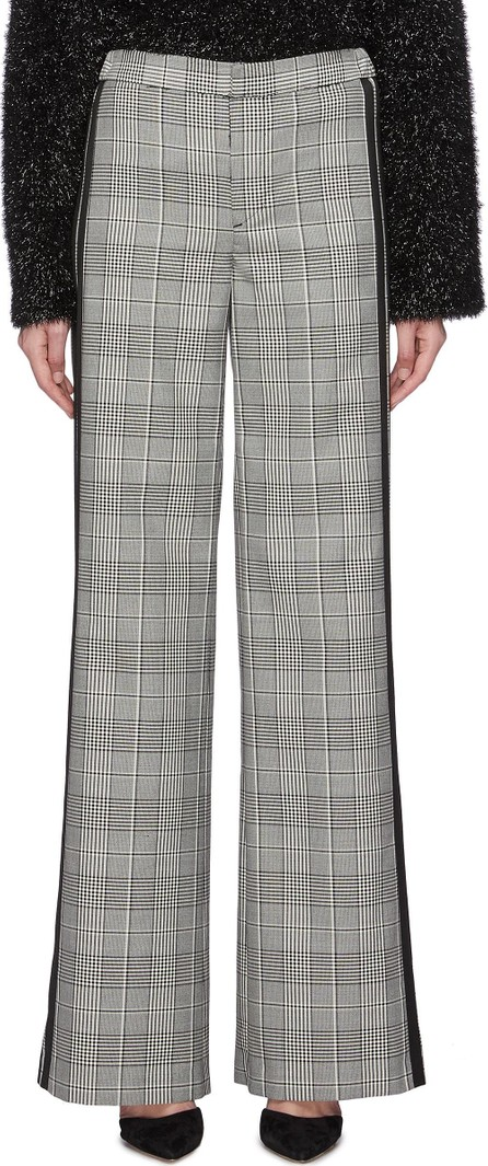 Alice + Olivia 'Paulette' stripe outseam houndstooth wide leg tuxedo pants