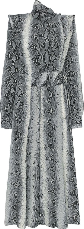 Alessandra Rich Python Print Silk Dress