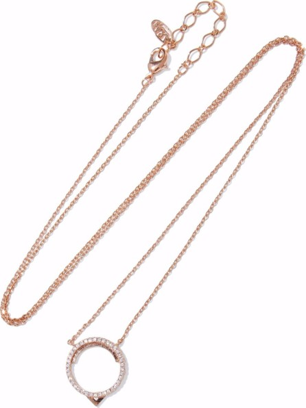 Astrid & Miyu 14-karat rose gold-plated crystal necklace