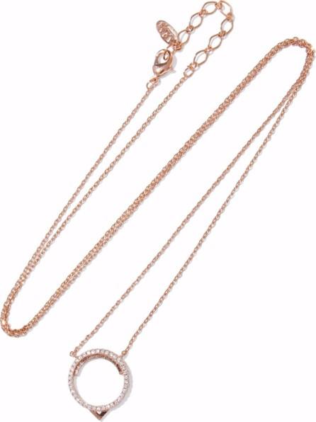 Astrid & Miyu 14-karat rose gold-plated crystal necklace
