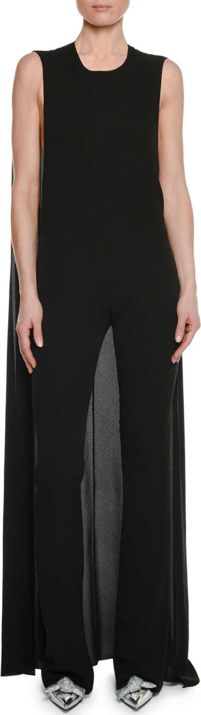 TOM FORD Sleeveless Straight-Leg Georgette Jumpsuit with Cape