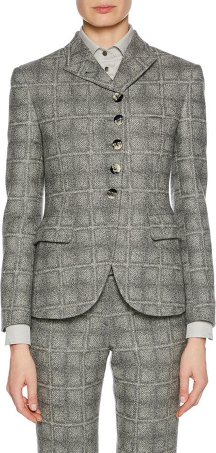 Giorgio Armani Asymmetric 5-Button Check-Pattern Wool-Blend Novelty Jacket