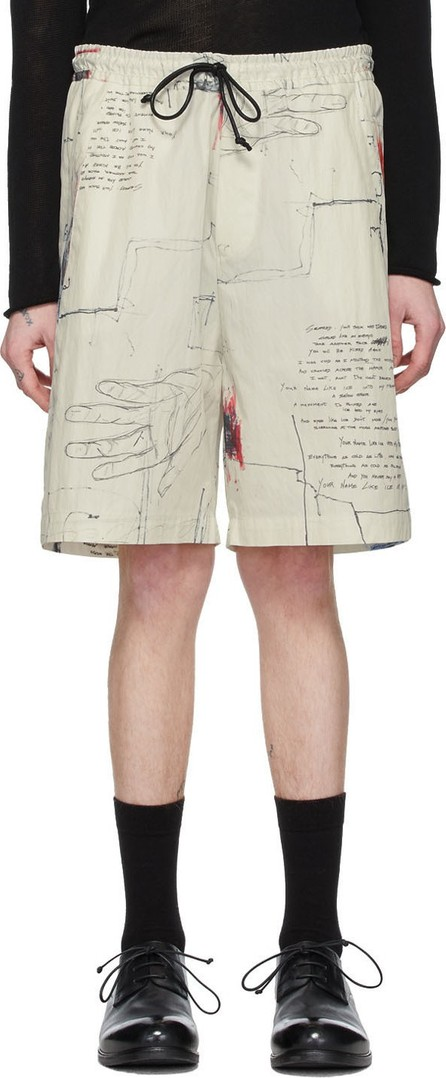 Isabel Benenato Off-White Printed Cotton Shorts