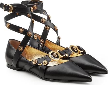 Versace Embellished Leather Ballerinas