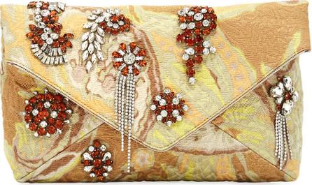 Dries Van Noten Jeweled Metallic Envelope Clutch Bag