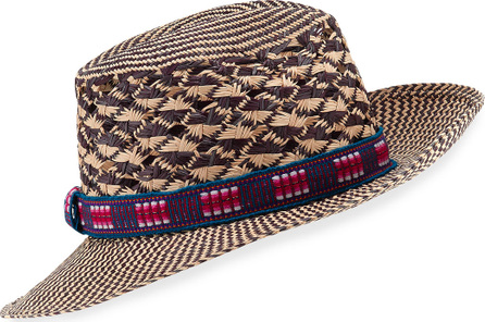Valdez Panama Hats Nadia Chevron Straw Fedora Hat