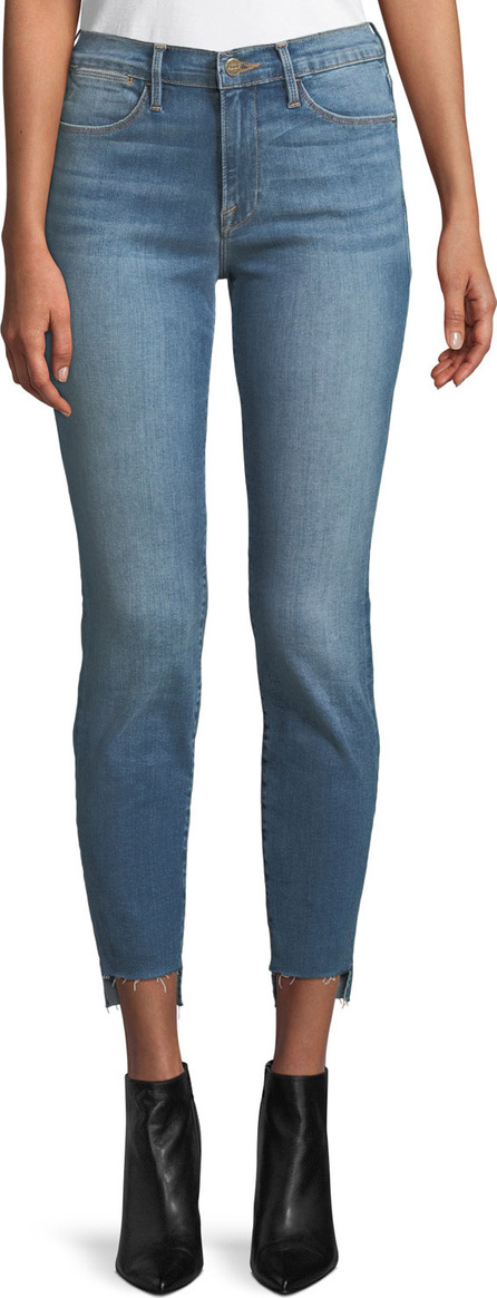 FRAME DENIM Le High Skinny-Leg Jeans w/ Raw Stagger Hem