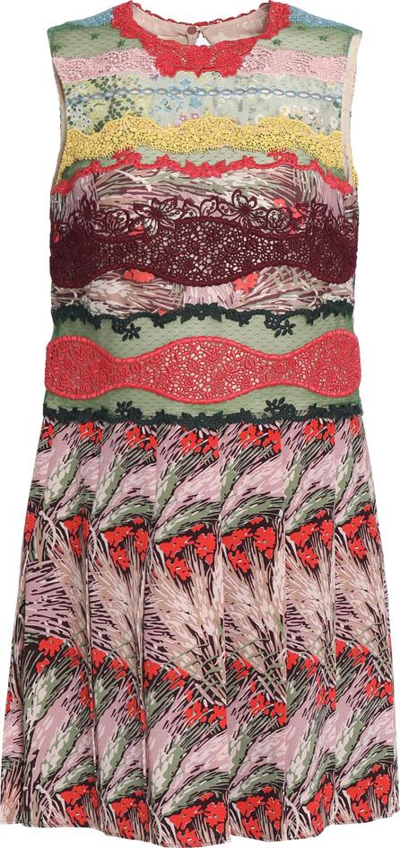 Valentino Lace-paneled printed silk crepe de chine mini dress