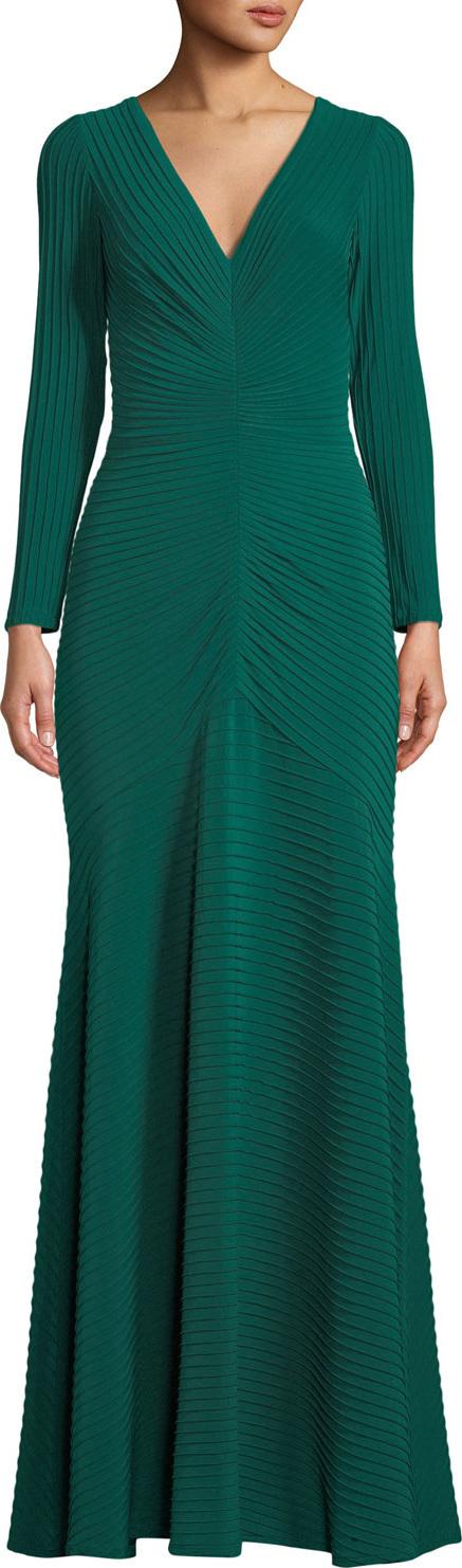 Tadashi Shoji Elias Jersey Pintuck Long-Sleeve Gown