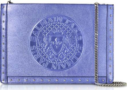 Balmain Iris Laminated Leather Mini Domaine Clutch