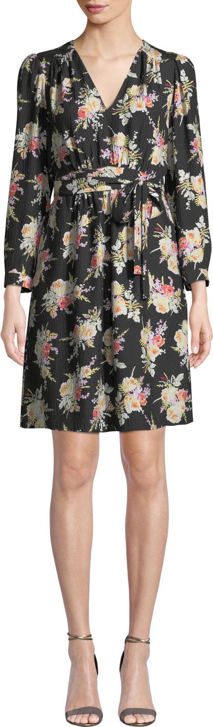 Rebecca Taylor Long-Sleeve Bouquet Silk Short Dress