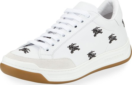 Burberry London England Timsbury Knight Embroidered Leather Sneakers