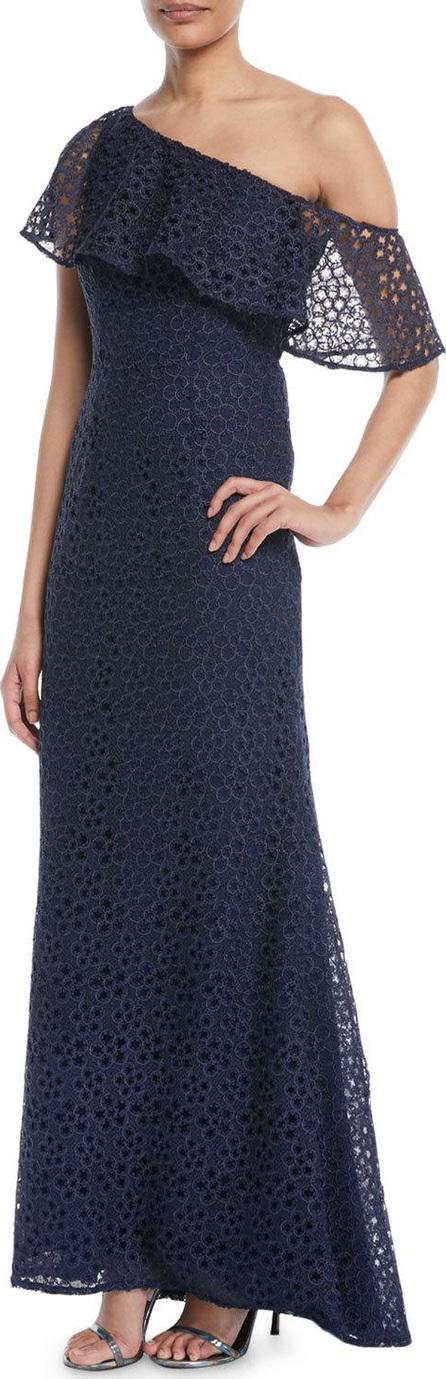 Carmen Marc Valvo One-Shoulder Popover Lace Gown