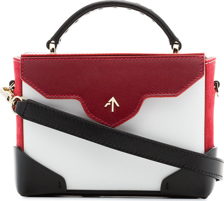 Manu Atelier White, red and black Micro Bold leather cross-body bag