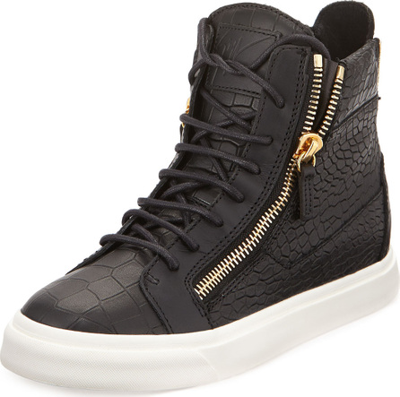 Giuseppe Zanotti Croc-Embossed Leather High-Top Sneakers