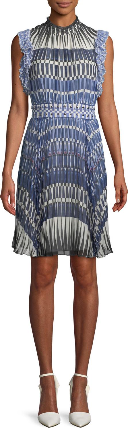 Kate Spade New York stephana deco-print dress w/ studded waistline