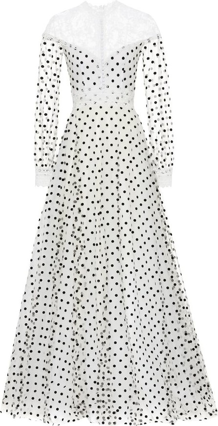 Costarellos Dotted tulle gown