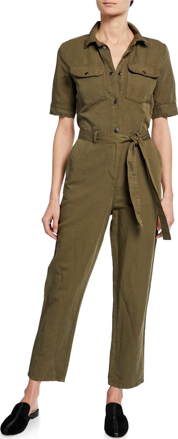 eb280167774 FRAME DENIM Short-Sleeve Button-Down Belted Straight-Leg Cotton-Linen  Jumpsuit