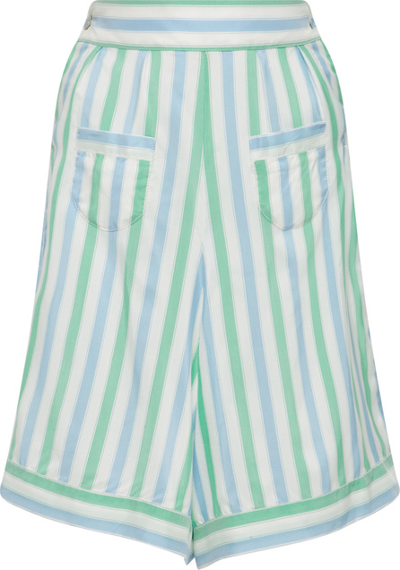 Thierry Colson Striped Long Silk Shorts