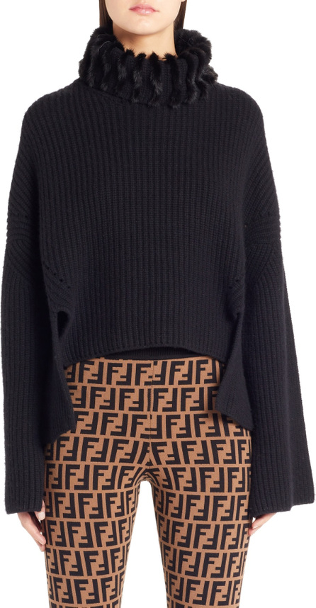 Fendi Genuine Mink Fur Turtleneck Cashmere Sweater