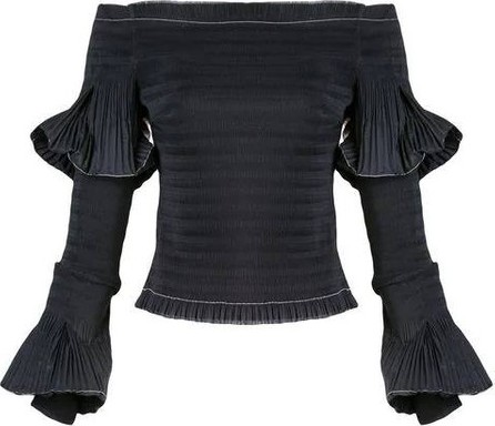 Area Pleated off-shoulder top