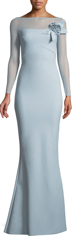 La Petite Robe di Chiara Boni Saori Illusion Long-Sleeve Gown w/ 3D Rose