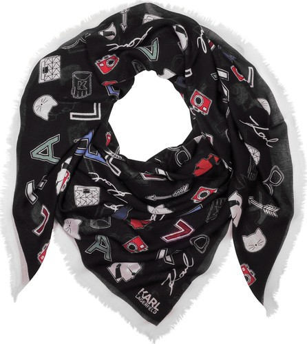 Karl Lagerfeld Karl Iconic Pins Modal and Cashmere Printed Wrap
